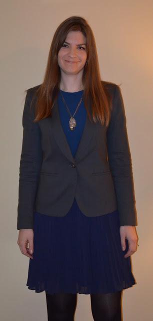 Tall Grey Blazer and Blue Dress