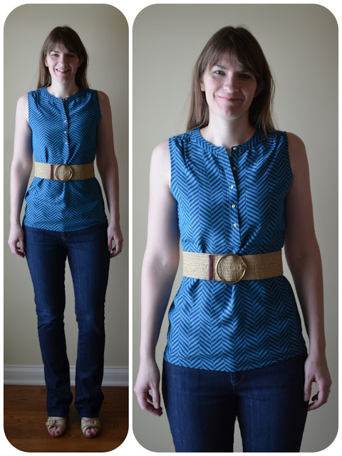 Tall belted teal blouse