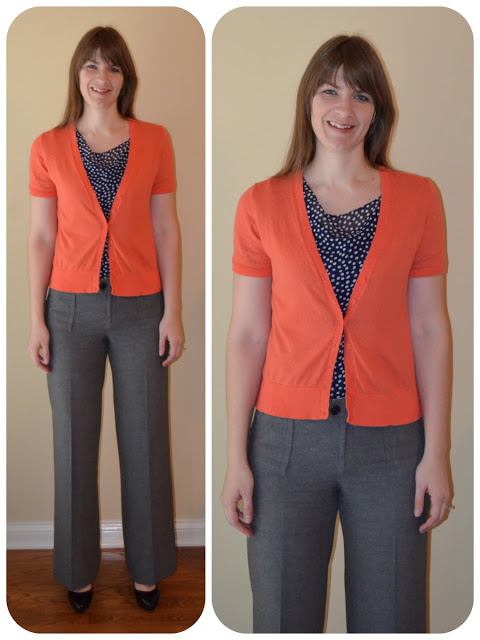 Orange and navy outfit