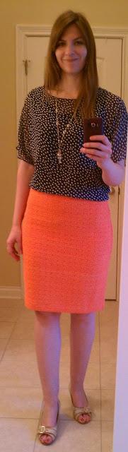 Navy blue top orange skirt