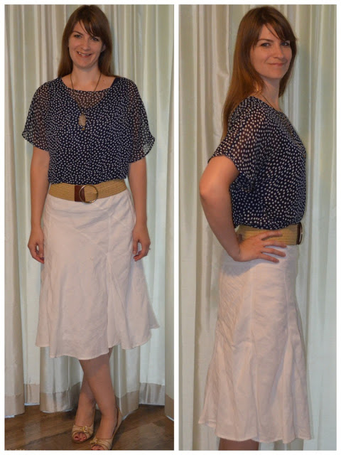 White linen skirt navy blue top