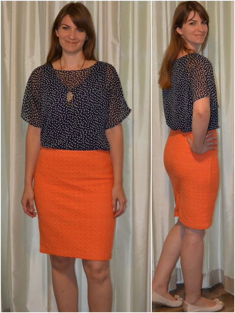 Navy blue top orange skirt