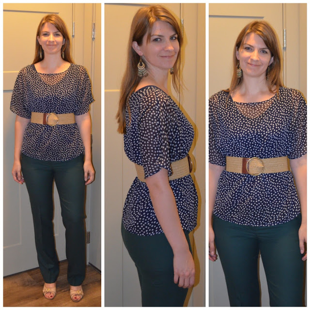 Green pants navy polka dot top