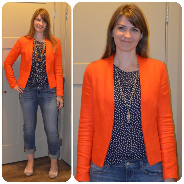 Navy blue blazer orange top jeans