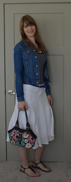 White skirt denim jacket