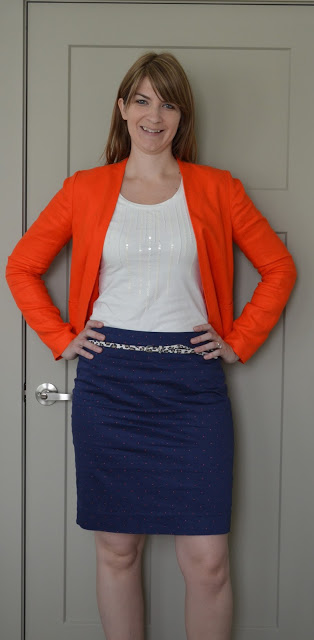 Navy Skirt Orange Blazer White Tank