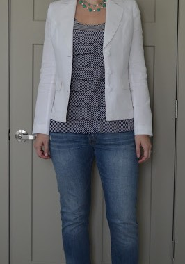 Tall White Blazer Jeans Striped Top