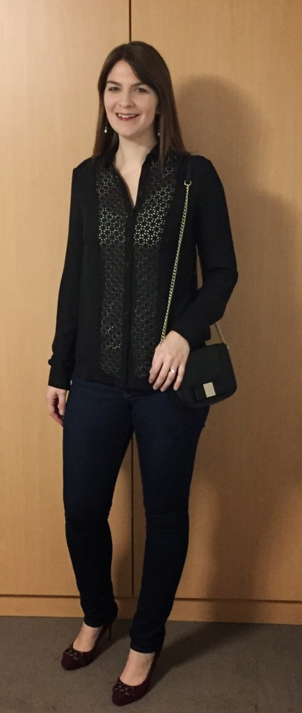 LTS Black Sheer Tall Blouse