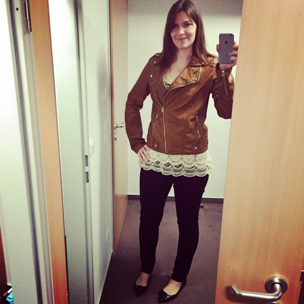 Tall Leather Jacket and Lace Top