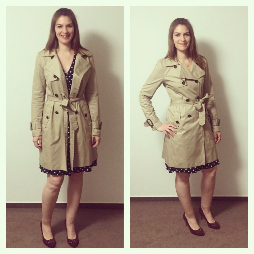 Tall Trench Coat and J.Crew Polka Dot Dress