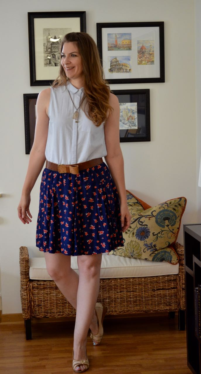 Striped top floral skirt