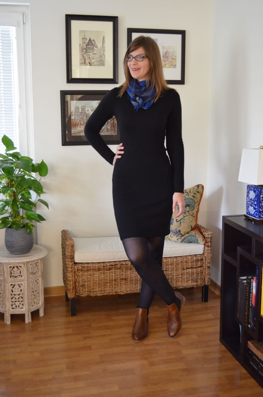 Sweater dress ankle boots