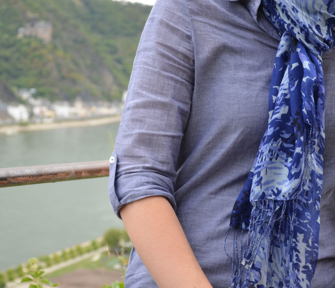 Tall Chambray Top Roll-Up Sleeve