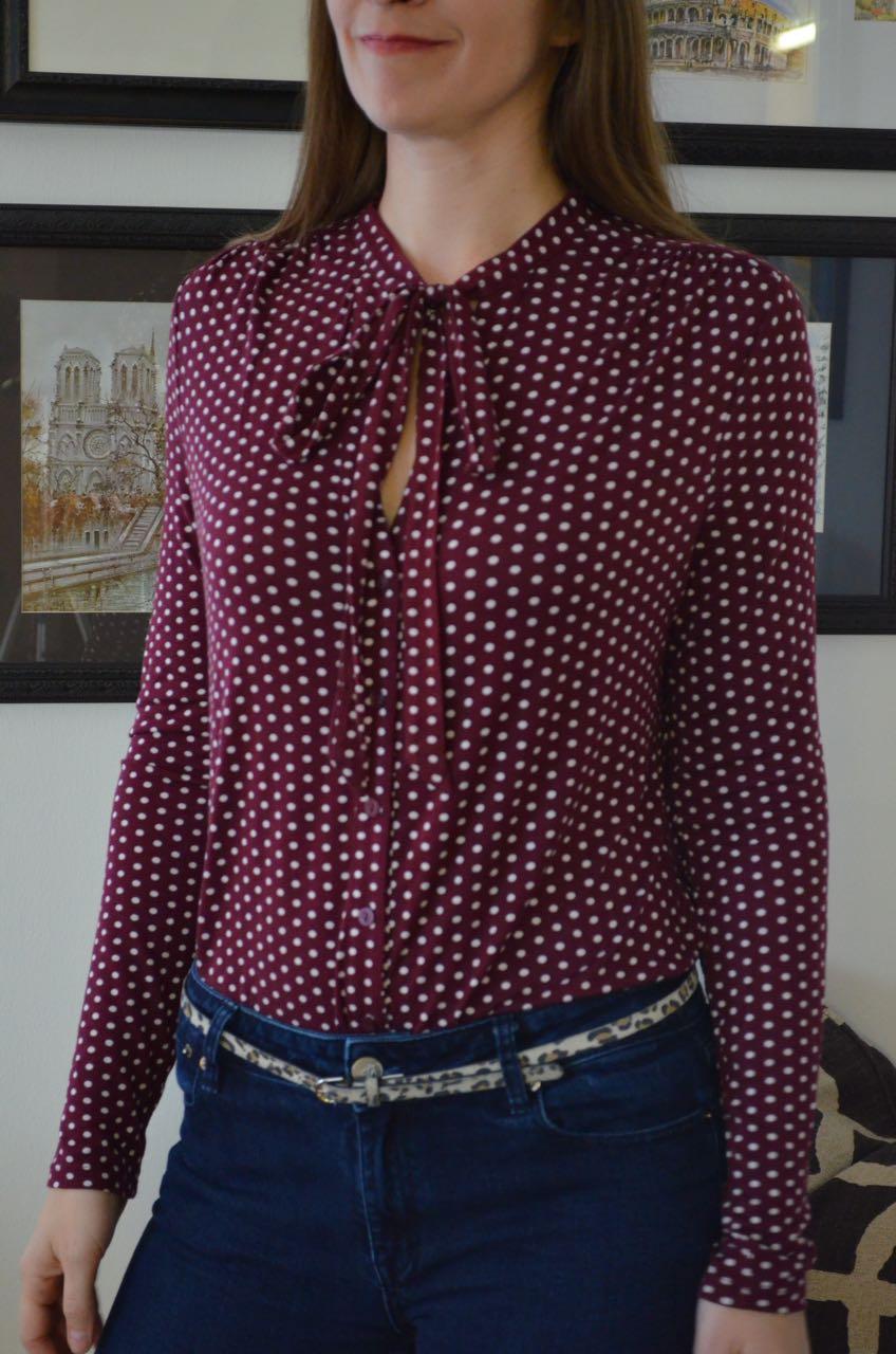 Polka dot blouse for tall women