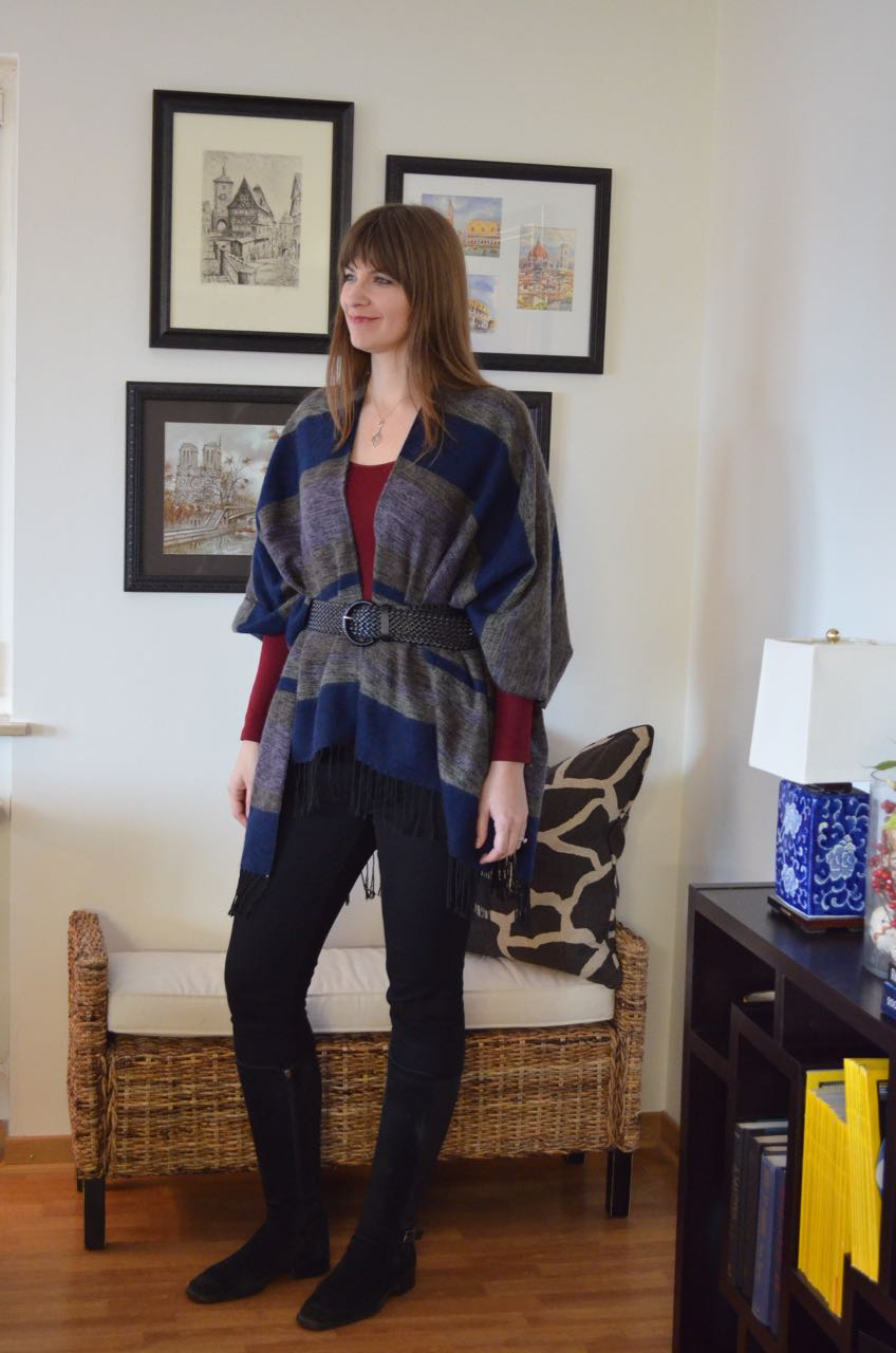 How to wear belted poncho