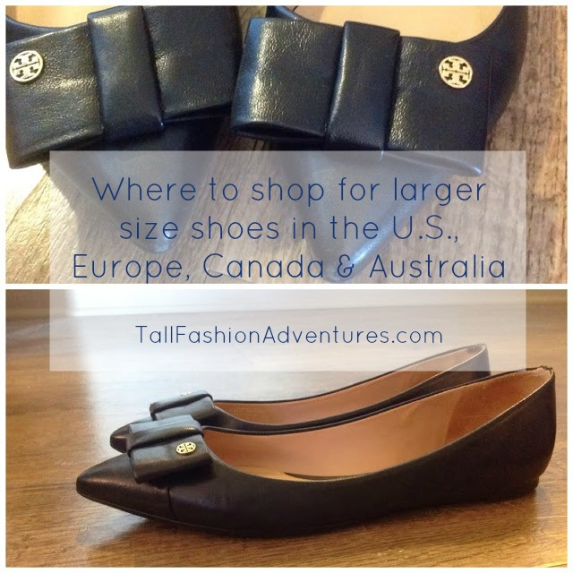 List of stores carrying large shoes for women in the U.S., Europe Australia and Canada