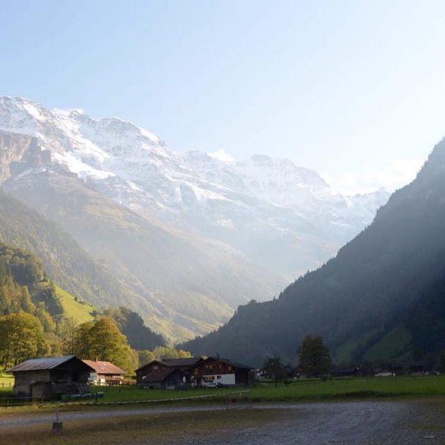 Even parking lots have good views in Switzerland!! lauterbrunnenvalley stechelberg