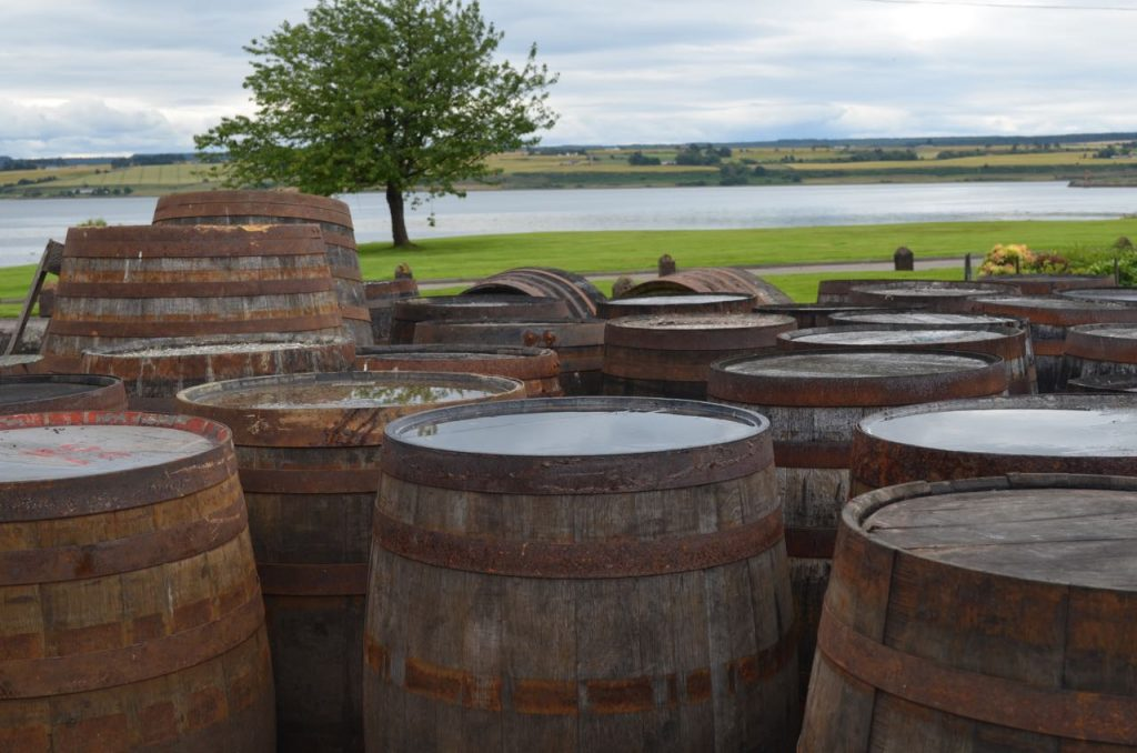 Bourbon barrels at Dalmore Distillery