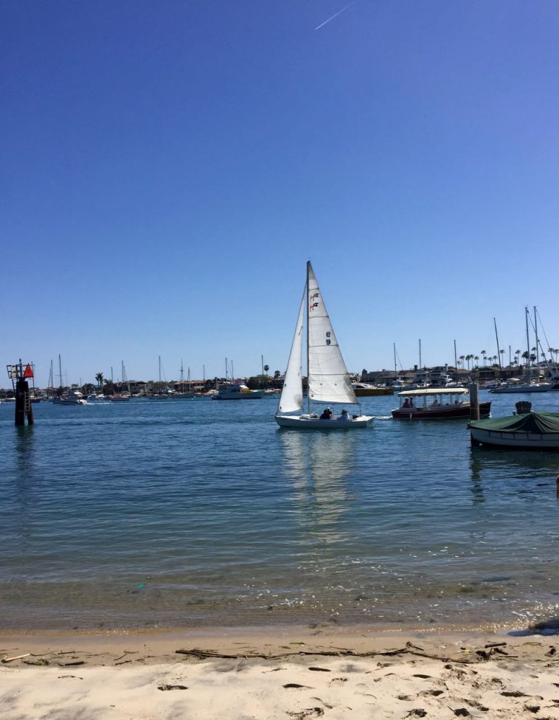 Sailboat in Balboa harbor