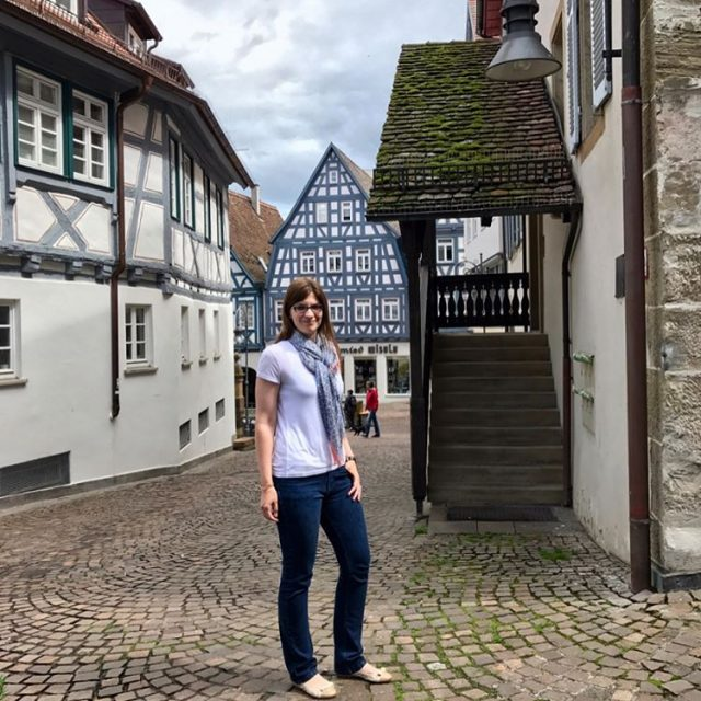 Its a white tee pretty scarf and timbered buildings kindhellip