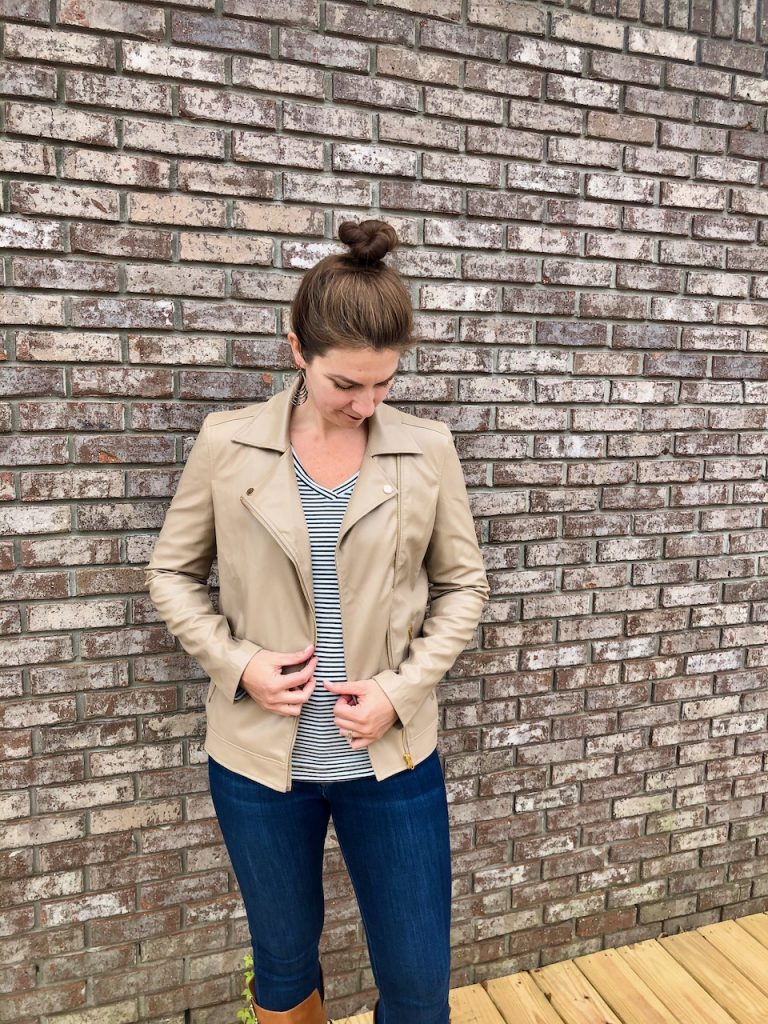 Faux leather jacket for tall women